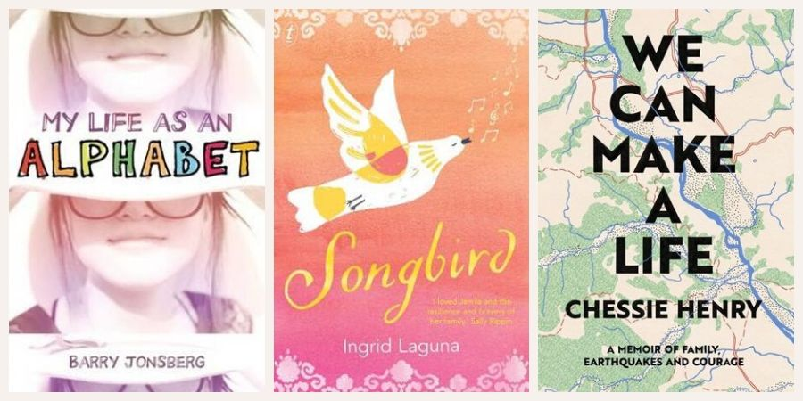Book covers: My Life as an Alphabet, Songbird and We Can Make a Life