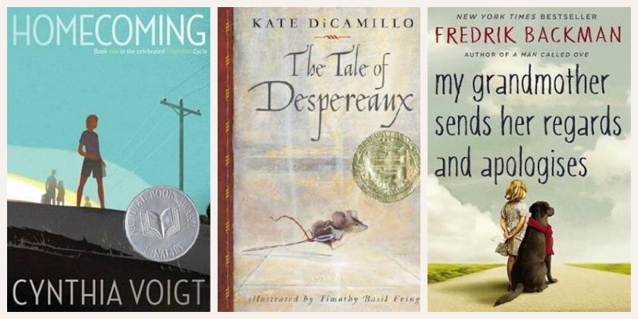 Book covers: Homecoming, The Tale of Despereaux and My Grandmother Sends Her Regards and Apologises