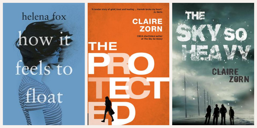 Image is of three book covers: How it Feels to Float, The Protected and The Sky So Heavy
