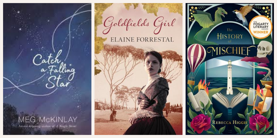 Image is of three book covers: Catch a Falling Star, Goldfields Girl and The Book of Mischief
