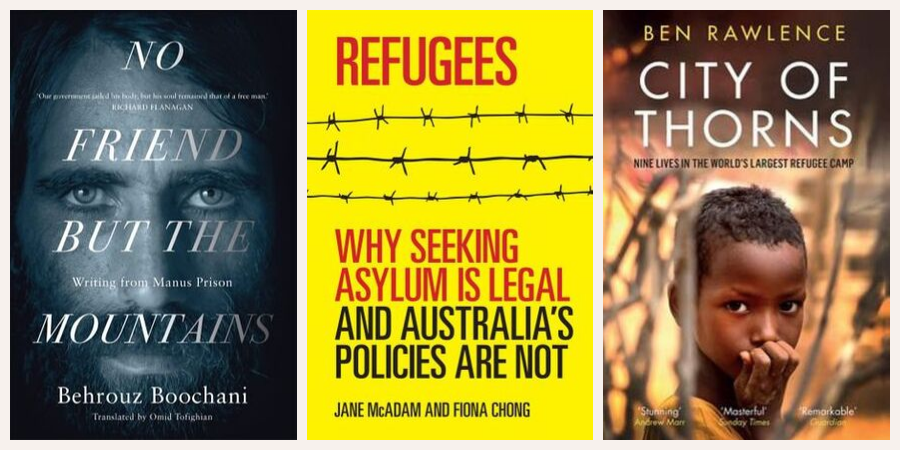 Book covers: No Friend but the Mountains, Refugees, The Girls
