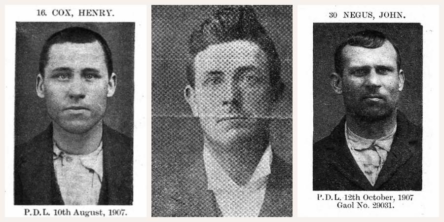 Image description: mug shots of armed robbers Henry Cox, John Henry Sparks and John Negus circa 1900