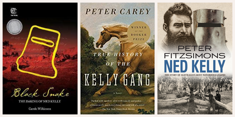 Image description: books covers of Black Snake by Carole Wilkinson, True History of the Kelly Gang by Peter Carey and Ned Kelly by Peter Fitzsimons