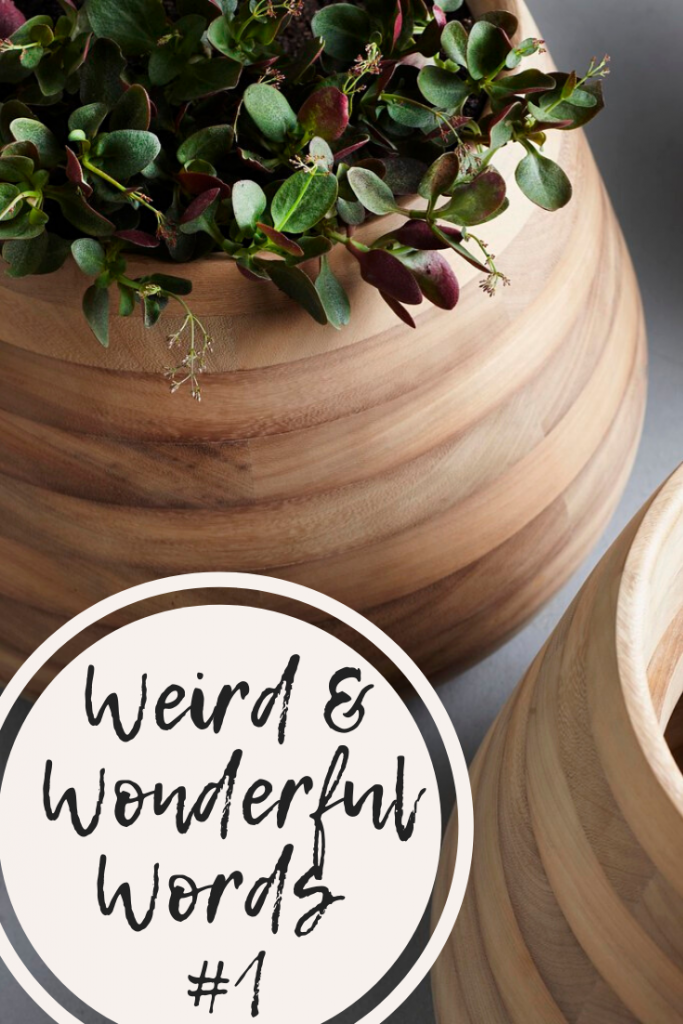 Image is of round wooden planter with a plant in it.