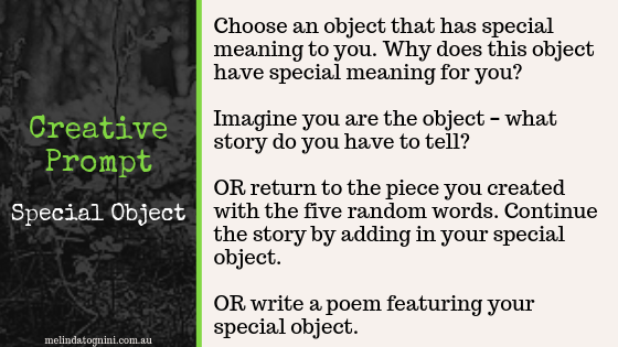 Creative Prompt: Choose an object that has special meaning to you. Why does this object have special meaning for you? Imagine you are the object - what story do you have to tell? OR return to the piece you created with the five random words. Continue the story by adding in your special object. OR write a poem featuring your special object.