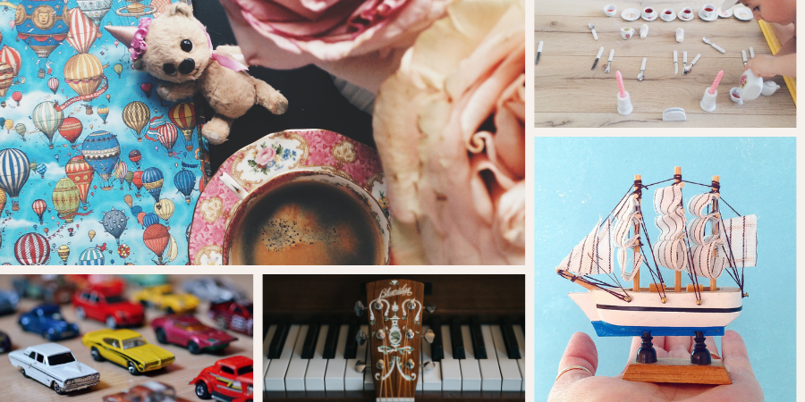 Images: 1. book with balloons on the cover, teddy bear, tea cup and a rose. 2. little boy playing with a toy tea set. 3. numerous toy cars. 4. piano keyboard with the neck of a guitar leaning against it. 5. a hand holding up a model ship.